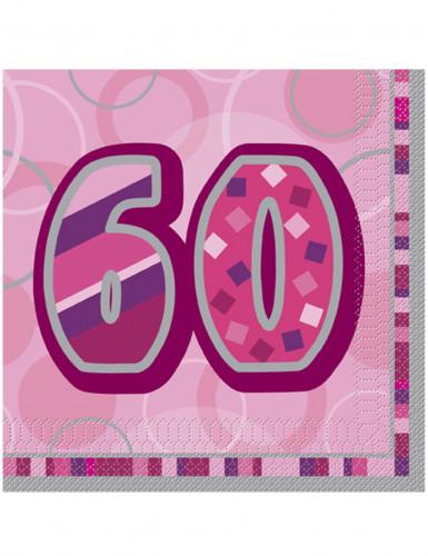 16 Serviettes en papier Age 60 ans roses 33 x 33 cm