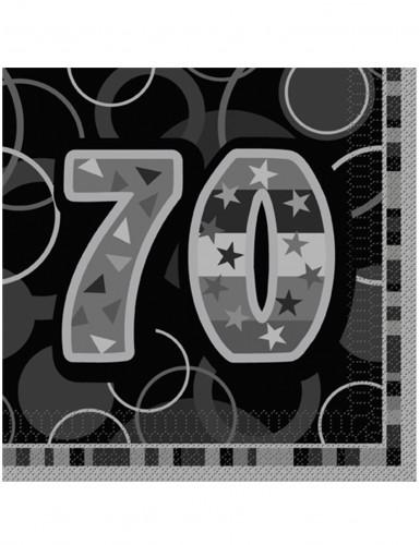 16 Serviettes en papier Age 70 ans grises 33 x 33 cm