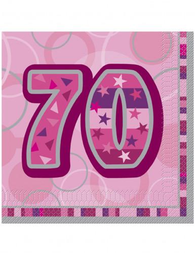 16 Serviettes en papier Age 70 ans roses 33 x 33 cm