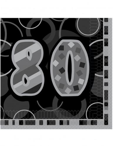 16 Serviettes en papier Age 80 ans grises 33 x 33 cm