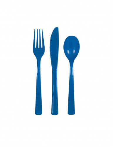 18 Couverts en plastique bleu foncé