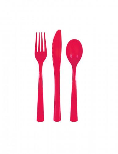 18 Couverts en plastique rouge
