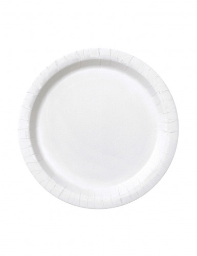 20 Petites assiettes  blanches rondes en carton 18 cm