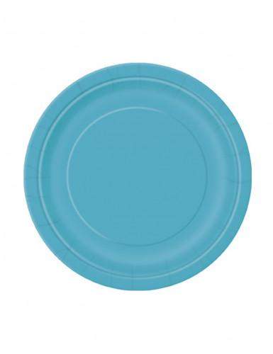 20 Petites assiettes  turquoise rondes en carton 18 cm
