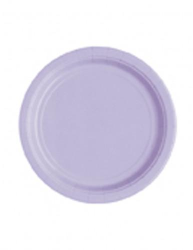 20 Petites assiettes lavande en carton 18 cm