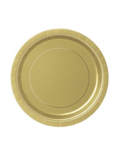 20 Petites assiettes en carton doré 18 cm
