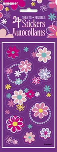 4 Feuilles de stickers fleurs fille
