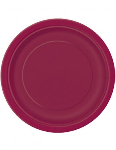 8 Assiettes bordeaux en carton 23 cm