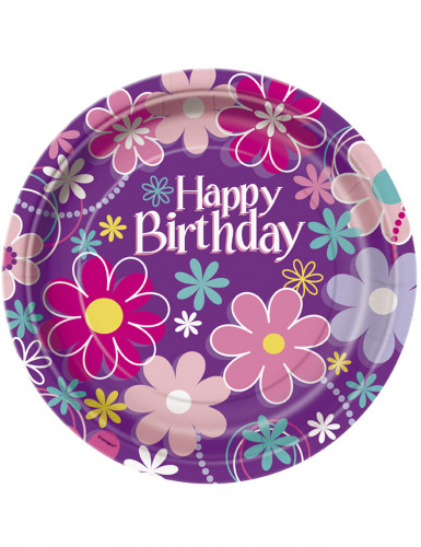 8 Assiettes en carton Happy Birthday 23 cm