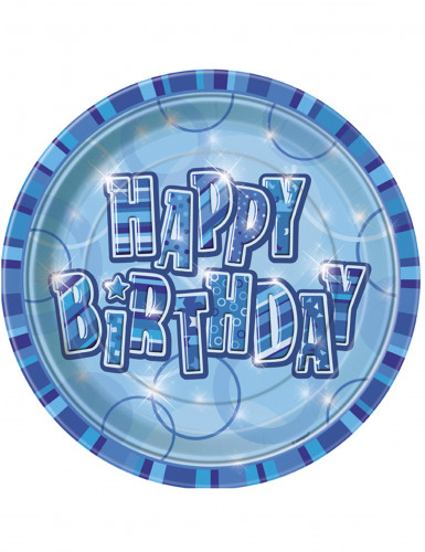 8 Assiettes en carton Happy Birthday bleu 23 cm
