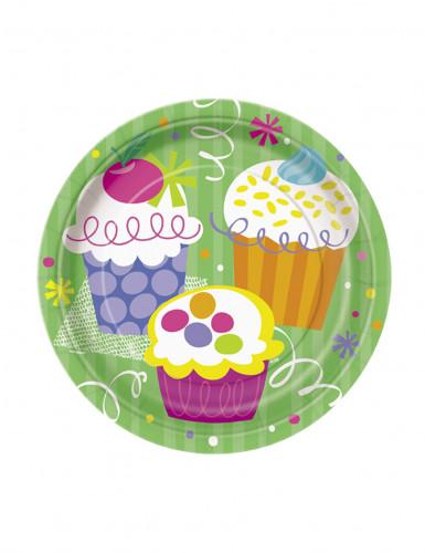 8 Petites assiettes en carton Cupcake Party 18 cm
