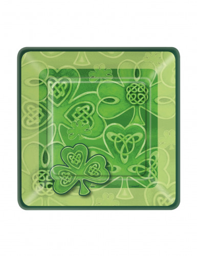 8 Petites assiettes carrées en carton Trèfle de la St Patrick 18 cm