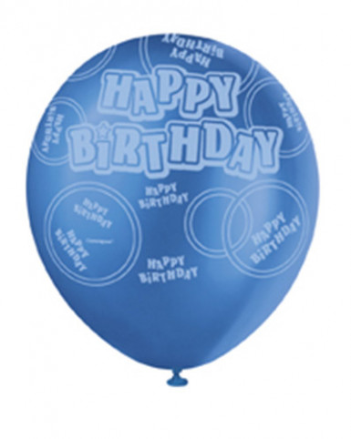 Ballon de baudruche bleu  Happy Birthday-2