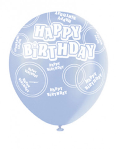 Ballon de baudruche bleu  Happy Birthday-1