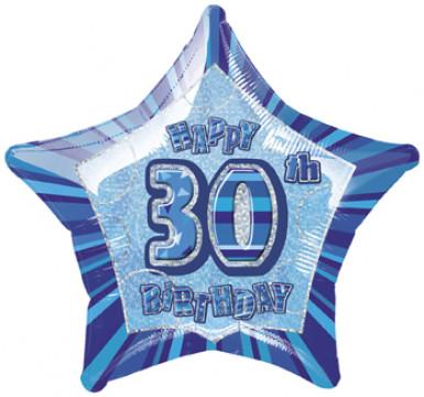 Ballon étoile bleu Age 30 ans