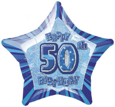 Ballon étoile bleu Age 50 ans