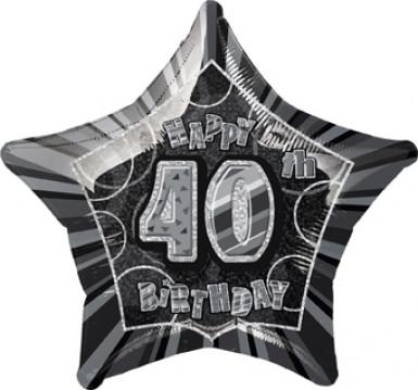 Ballon étoile gris Age 40 ans