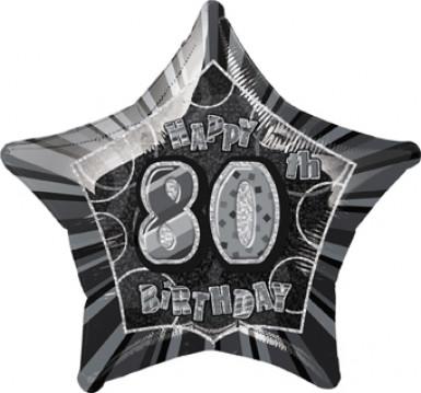 Ballon étoile gris Age 80 ans