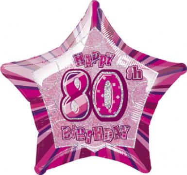 Ballon étoile rose Age 80 ans