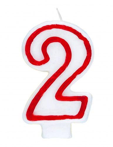 bougie blanche au contour rouge chiffre 2 d coration anniversaire et f tes th me sur vegaoo party. Black Bedroom Furniture Sets. Home Design Ideas