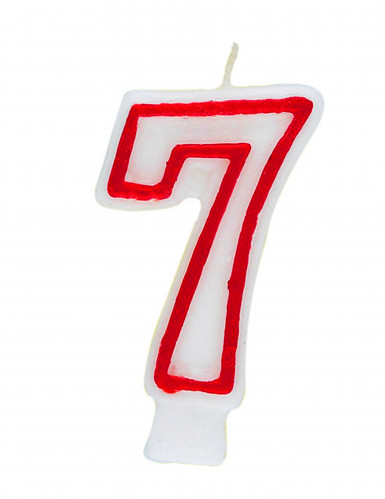 Bougie blanche au contour rouge chiffre 7