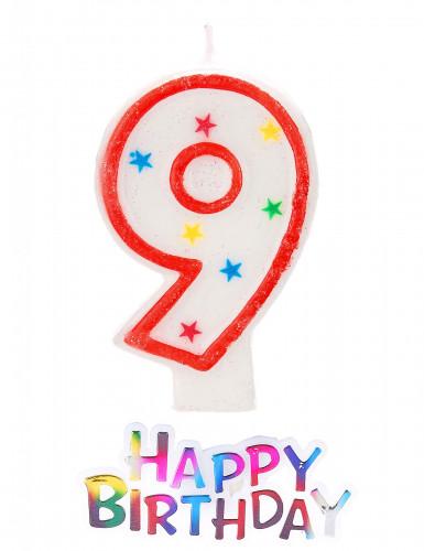 Bougie étoilée chiffre 9