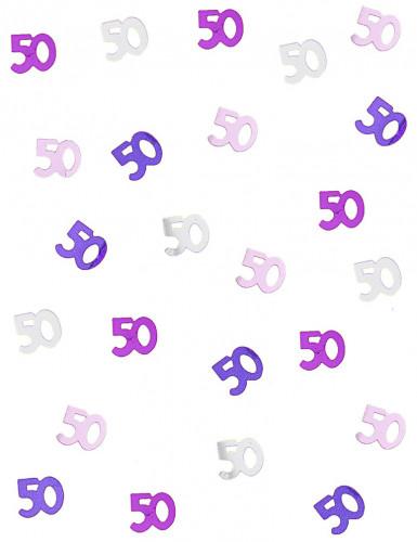 Confettis rose/gris Age 50 ans