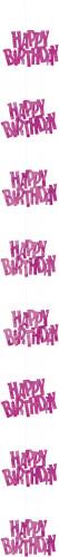 Décoration suspendue Happy Birthday rose