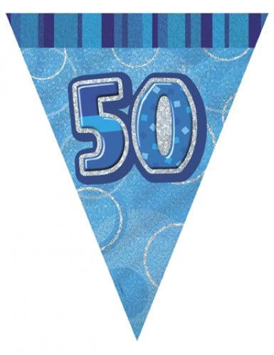 Guirlande Fanions bleue Age 50 ans