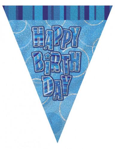 Guirlande Fanions bleue Happy Birthday