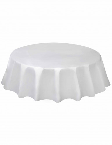 nappe ronde en plastique blanche d coration anniversaire. Black Bedroom Furniture Sets. Home Design Ideas