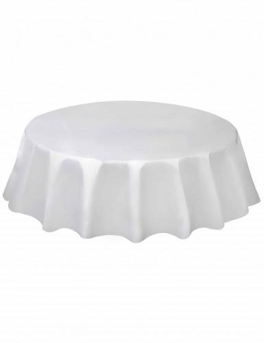 Nappe ronde en plastique blanche 213 cm
