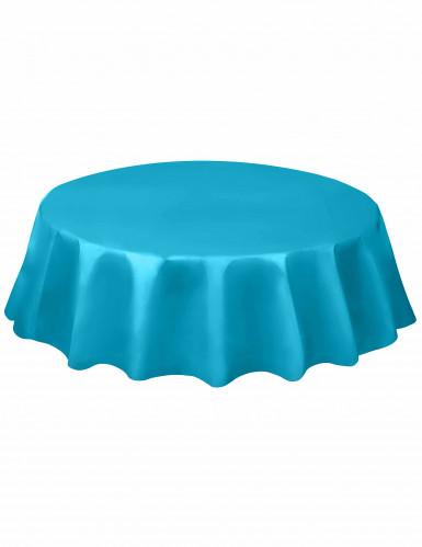 Nappe ronde en plastique bleu caraïbe