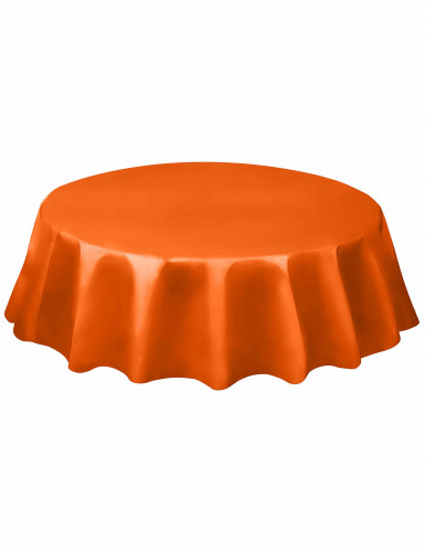 Nappe ronde en plastique orange 213 cm