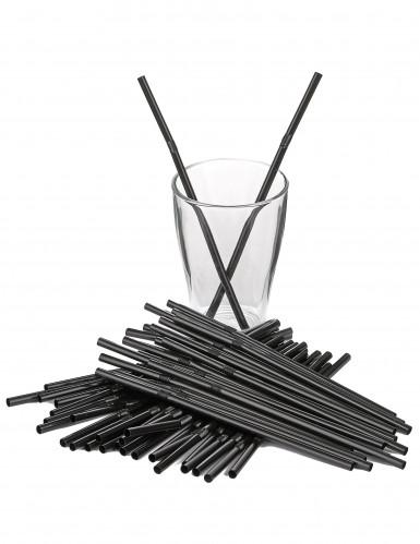 50 Pailles flexibles noires-1