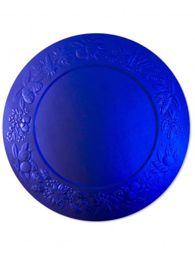 4 Sous assiettes en relief bleues satiné en carton 34 cm