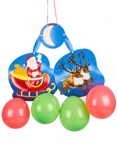 Suspension cartonnée avec ballons Père Noël sur son traineau