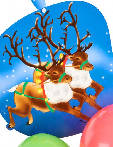 Suspension cartonnée avec ballons Père Noël sur son traineau-1