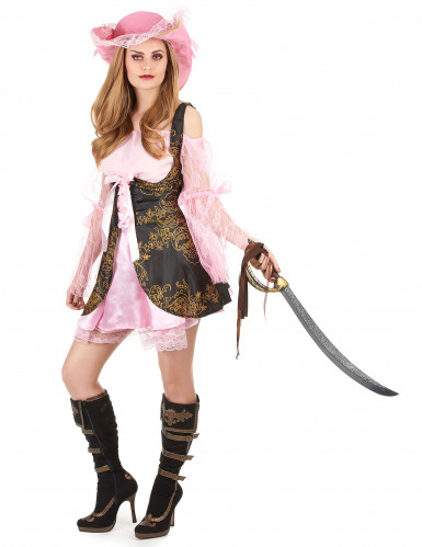 Déguisement pirate rose luxe femme