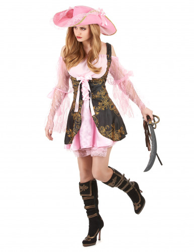 Déguisement pirate rose luxe femme-1