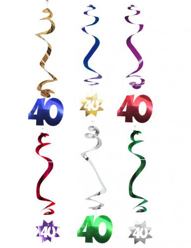 6 Décorations à suspendre spirale 40 ans