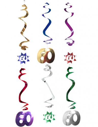 6 Décorations à suspendre spirale 60 ans
