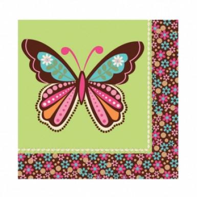 16 Serviettes en papier Papillons Hippie Chick 33 x 33 cm