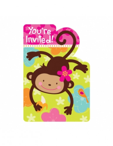 8 cartes d'invitation Singe