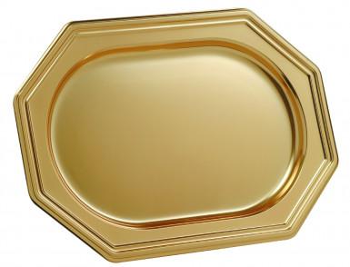 3 Plats traiteur doré octogonal 35 x 24 cm