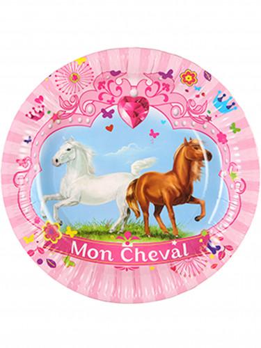 6 Assiettes en carton Mon Cheval 23 cm