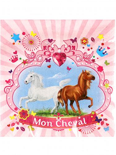 20 Serviettes en papier Mon Cheval 33 x 33 cm