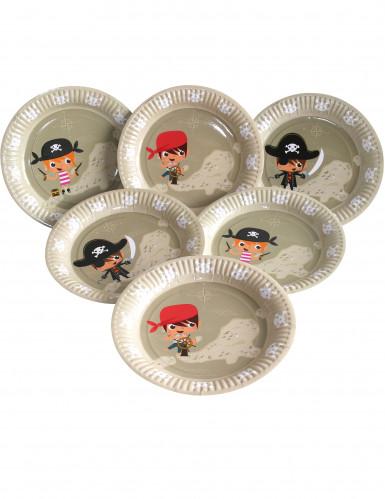 6 Assiettes en carton Pirate 23 cm