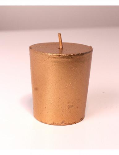 4 Petites bougies jaune dorées à paillettes 4,5 cm de hauteur-2