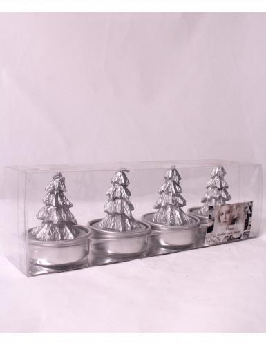 4 bougies argentées forme sapin 5 cm de hauteur-1